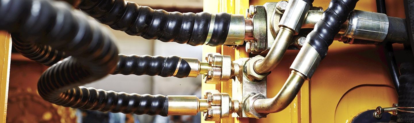 Hydraulic pressure pipes system of construction machinery; Shutterstock ID 185954462